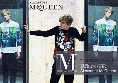 本季Alexander McQueen在色彩的上无彩色最多,以高纯度正红色、严肃的绀青色和含蓄青灰色为主要色彩;在廓形、细节的设计上通过极具创意的重新设定,表现出个性、前卫、充满力量的设计。