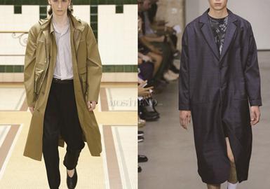 本季订货会综合15个重点品牌共53款风衣大衣,其中Dsquared2占比最多,款式多为基本廓形,其中为Neil Barrett和Valentino 的风衣大衣最为时尚年轻,每个品牌都有自己的亮点,值得关注。