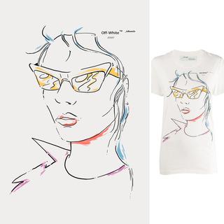 矢量圖 psd 局部圖案 女人 眼鏡 簡筆畫 手繪 線稿 肖像 大牌圖案 休閑風 清新風 卡通