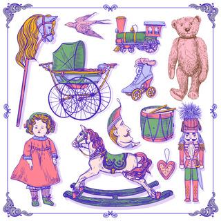 矢量图 eps 玩具 毛绒玩具 泰迪熊 局部图案 马车 木马 娃娃 休闲风 复古风