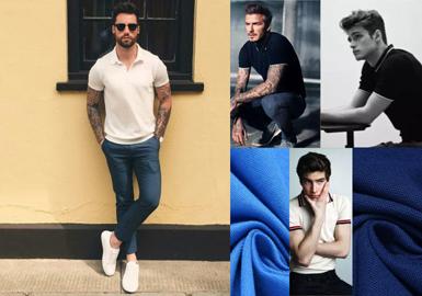 POLO又称网球衫,与网球运动有着密切联系。世界上第一件POLO衫是由LACOSTE品牌为了方便网球运动员挥拍时上身的扭动而设计出来的。时至今日,现在的POLO衫已经成为了一件时尚男装,是夏季男士必备的单品。其面料的种类也丰富了很多,有珠地、条纹、印花汗布等等。