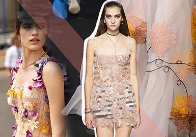 2019春夏女装礼服图案工艺趋势预测--花卉图案