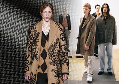以Alexander McQueen为首的很多男装品牌这次2018秋冬秀场大衣上运用了一些带有刺绣工艺的毛呢面料。刺绣属于装饰工艺中比较高级的一种形式,将传统的毛呢面料表面融入刺绣工艺,瞬间提升了男士毛呢大衣的高定感。