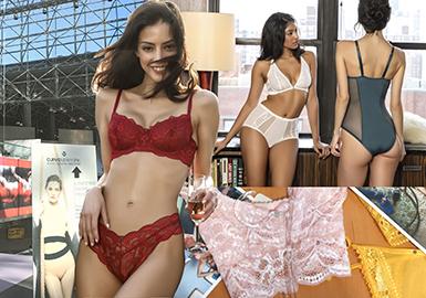 UBM Fashion旗下一年兩度的紐約Curve內衣展在賈維茨中心舉行,探索了影響美國內衣、家居服和睡衣市場的趨勢。Curve內衣展位于該會展中心的角落里,同時,包括Coterie在內的服裝展也在這里啟動。Curve內衣展注重美國市場,此外,歐洲市場的影響力也不容忽視。精致動感:傳統內衣與運動風結合源于商業時尚。精細蕾絲混搭彈性貼邊和網孔嵌片。長款文胸:軟罩杯文胸在紐約Curve內衣展上興起。色彩:酒紅色相比原色紅 (也是18/19秋冬關鍵色彩) 更顯成熟,賦予運動家居服和簡約內衣以青春活力。煙藍色這些強烈色調形成視覺平衡。金屬光澤為基本單品增添個性處理。