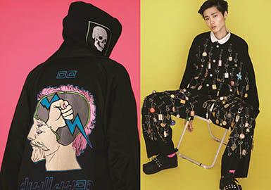 Haculla于2015年1月份建立的街头品牌。它的建立离不开两位至关重要的人物,其中一位是美籍华人艺术家管(Jon Koon),而另一位则是著名的涂鸦艺术家Harif Guzman。因为Jon Koon丰富的商业经验和Harif Guzman不俗的艺术设计,Haculla作为新兴品牌以迅猛的势头得到了广泛关注,Zayn Malik、G-Dragon以及CL等人都成为了Haculla的忠实拥簇者。这一季的Haculla依然是以Harif Guzman的街头涂鸦作品为主要灵感,暗黑设计中带着诙谐幽默感,又不失街头潮流感。黑、白、灰、红通过拼接的手法组合是本季一大亮点,色块鲜明又不失协调性。卫衣和夹克是每季必不可少的必备单品。吊裆裤、Oversize直筒裤、修身直筒裤是主推的三个裤装款式。诙谐搞怪的丑萌卡通、抽象夸张的人像、随性涂鸦字母一直是Haculla的特色,迷彩的加入更加丰富了视觉效果。