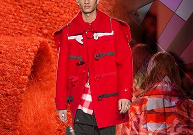 從POP網站秀場提煉的大數據分析得出,在2018/19秋冬男裝秀場上,大衣品類還是占比很大的,而毛呢面料又是大衣品類中的一個主要面料。很多充滿活力、溫暖的暖色調色彩如:雪糕橙、芥末黃、胭脂紅、倫巴紅成為了本次秀場大衣色彩的一大亮點。其中,以倫巴紅、黑色以及杏仁米是占比最高的色彩。而雪糕橙、芥末黃將會是18/19秋冬男裝大衣毛呢的預警色,值得關注一下。