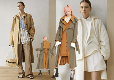 在2019早春T臺中外套的種類繁多,其中以簡約印象最為代表性,而在簡約風格線下會涌現了很多外套形式有強調束腰的西裝、大尺寸的格子元素、經典的絎縫外套等都為簡約風格增添無限的亮點。