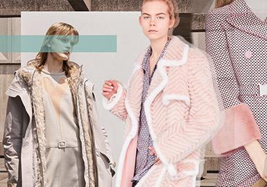 FENDI发布的2019早春将轻盈的樱花粉、裸粉、浅蓝色搬上T台,轻盈的毛皮饰边、精致的毛领和袖口、巧妙的毛皮缀花。活力感十足的粉嫩色系,搭配精巧的皮草点缀,与强对比度的背景幕布行成强烈反差,营造低调奢华的精致感。