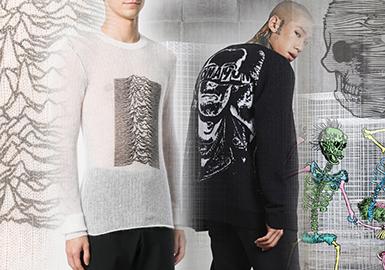 2020春夏男装毛衫大牌图案工艺趋势--黑暗力量