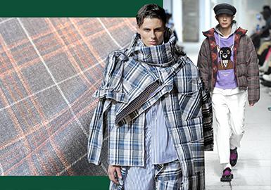 隨著各大品牌開始回溯學院時代,無論是從訂貨會還是秀場,還是男裝市場款式流行的資料中不難發現18/19秋冬男裝棉/羽絨服開始大面積運用格紋面料。親王格、校園格、格紋拼接以及重疊格紋,這些頗具特色的格紋面料讓男裝棉/羽絨服增添了不少復古氣息。