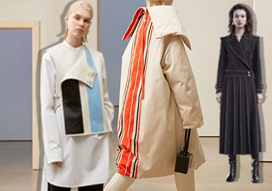 中淑在女装中以一种沉稳而干练;简约而又优雅的形象占据着主流风格这个稳定地位;在2019早秋的部分中淑品牌中,干练、简约的廓形依旧占据重要比重,服装整体在细节上会做深入的考究设计,让服装的细节细腻而又精致,给服装整体制造洒脱、利落的服装外部感受。