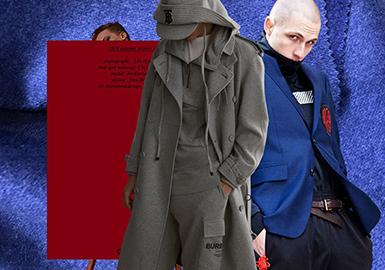 談及秋冬男裝外套面料第一讓人想起的就是毛呢面料,無論是凈色毛呢,還是條格毛呢都是秋冬季的經典面料之一。隨著個性、潮酷的男裝趨勢越演越烈,19/20秋冬男裝外套的毛呢色彩也隨之豐富了起來。從POP后臺數據可以看出,除了無色系色彩以外,科技藍以及中國紅這兩個炫彩色也占比很高,成為了19/20秋冬男裝毛呢面料中的一抹亮色。