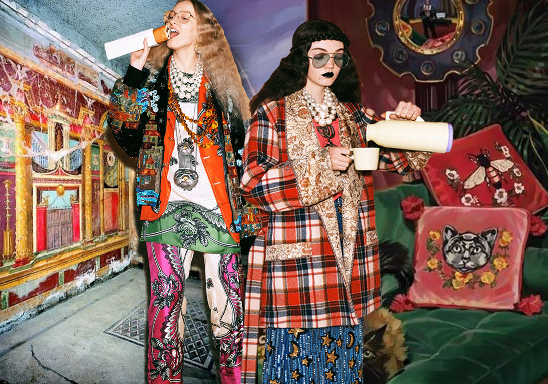 """Gucci 2019早秋系列,80年代的靈感清晰可見,華麗、繁復而精致的細節,融合了互動式和""""吃播式""""的創意理念,""""游人""""拿著相機入境,或拍模特,或與模特自拍,頗有畫面感。而另一部分模特則化身""""吃貨"""",吃薯條、喝可樂、吃蛋糕等,逗趣十足。 無需過多注解,就可以與消費者直接對話。這一系列具有趣味性的時尚Lookbook,與當下年輕人的喜好玩潮契合。"""