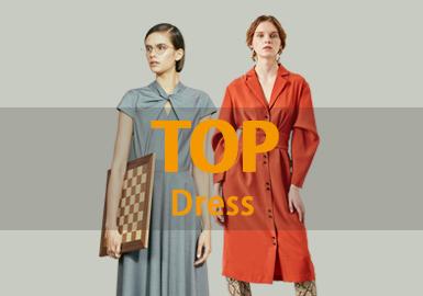 根據POP12月份女裝連衣裙單品TOP款式庫數據分析,簡約中淑為主,廓形以修身的X型居多,最受關注的工藝是拼接。