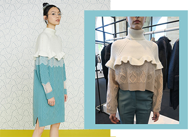 老佛爺Karl Lagerfeld這一季從西方與東方古書中獲得靈感,將男性服裝的陽剛剪裁注入到設計中,同時融入FENDI擅長的拼接工藝,這一季蕾絲與毛衫,皮革,襯衫等材質更是完美融合,讓女性不僅變得精致且更顯優雅。同時FENDI 這季的絲巾搭配,方翻領設計也與POP趨勢相當契合。