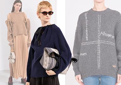 Stella McCartney19/20秋冬訂貨會毛衫依舊保持穿著舒適的、性感的和具有現代風格的特色,與往季相比細節設計融入更多年輕的熱門元素,優雅依舊又不失時髦感。
