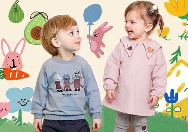 milkmile是韩国本土的婴幼童品牌,因其俏皮可爱的插画感图案深受大众喜爱,2019春季以明亮的糖果色为基调,推出微笑花朵,瓜果蔬菜,各异小动物,百变天气及学院风五大系列,图案生动有趣,款式乖巧,设计风格简约,搭配形式多样,色彩亮丽。