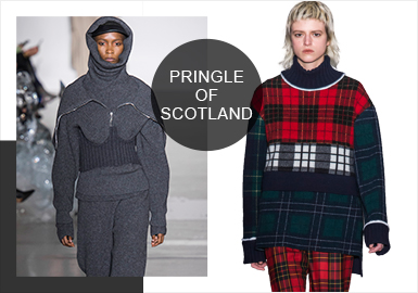 Pringle of Scotland19/20秋冬秀场与往季相比更加素雅,标志性的全套针织搭配出现在从运动服饰中汲取灵感的慢跑休闲装和奢华针织帽衫中,精心设计的柔软配饰也具有与本系列服装相同的主要特色。
