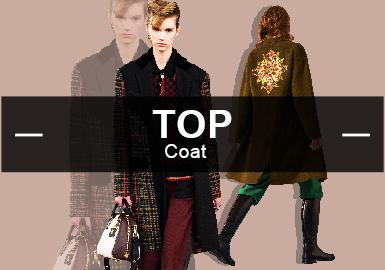 根据POP2月份女装大衣款式库数据分析得出:大衣以中淑风格为主,图案以格纹印花居多,最受关注的工艺是拼接。