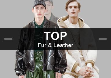 1月份款式库中皮衣&皮草单品流行方向分析,商务休闲风格占据主导地位,最受欢迎的单品还属夹克,其中?#20113;?#34915;品类为主,其次是全毛类、皮毛结合。