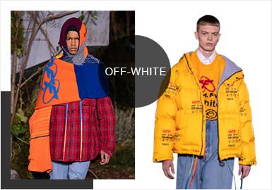 "OFF-WHITE是美国籍设?#21078;irgil Abloh于2012年创立的时尚潮牌,创立的目的是为了让街头潮流能够结合高端时尚。这一季的 Off-White 以 ""Public Television"" 为名,设计借鉴了SMPTE(美国电影电视工程师协会)的设计元素,以高饱和的色调和略夸张的款式廓形引人注目。"
