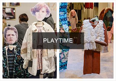 第25届Playtime巴黎展会在巴黎植物园举行,本届展会约有200个品牌参展。在色彩上以复古绿、醒目橙和淡紫色尤为值得关注。而当下热门的触感毛衫,箱型夹克,滑雪外套等都是重要的单品。鉴于怀旧风潮的再次回归,复古混搭组合变得时髦起来,而设计师风格受到了越来越多的关注,丰富的色彩和夸张的图案设计彰显品牌的趣味性。