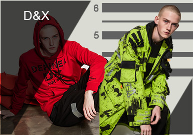"""D&X(Day night X Change)街头风潮流服饰品牌,品牌凸显神秘元素""""X""""以及其所带来的未知变革。2019春夏分为三大主题:警匪、啤酒、国粹麻将;张扬年轻一代的个性,传递正能量和价值观。"""