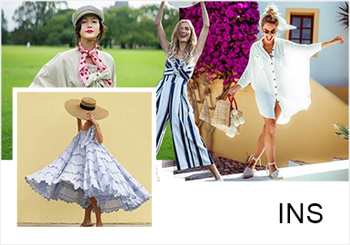 深受时尚博主喜爱的连衣裙以混搭风衣、西装来中和连衣裙的甜美,组合出优雅时尚感,柔与酷的碰撞再佩戴复古配饰完美搭配出可盐可甜的女王范。