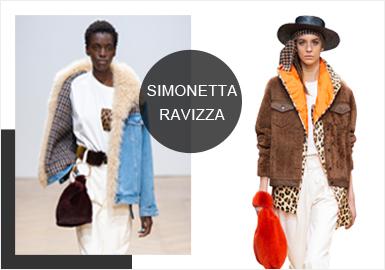 曾以一款超市购物袋造型的水貂手袋在INS上红透半边天的Simonetta Ravizza,在新系列中依然?#20381;?#20102;具有现代设计感的手包、礼帽以及珠宝等配饰,使整个系列更加完整。本季将重点集中在设计轻?#23578;?#38386;简洁的现代成衣上,例如牛?#23567;?#38450;雨绸、羊毛等不同面料的组合,这种推陈出新的的设计理念让产品更具街头化和年轻化。