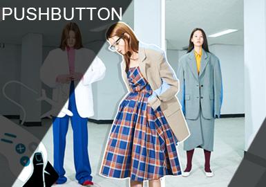 Pushbutton是韓國非常受歡迎的設計師品牌,擅長將性別模糊化,大膽前衛的風格;以及設計感帶出有趣但又先鋒感的設計。西裝單品也是這一季主要單品之一,Pushbutton將亮色材質混合搭配,讓人耳目一新也脫離窠臼。蛇紋材質運用展現復古女性剛強和男性柔美。獨特的設計風格展現不一樣的時裝風采。