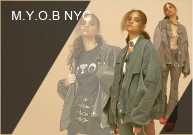 街頭潮流品牌 M.Y.O.B NYC 一直是酷女孩們最愛的小眾品牌之一。深受Sita Bellan 、StarsXu 、陳星如等個性潮流 KOL的喜愛。本季度應用解構、印花等工藝、營造疊搭感,將美式風格與日式風格完美結合。展現憂郁頹廢的街頭視覺。