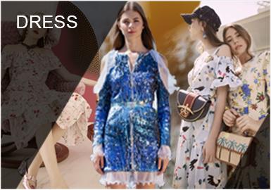 少淑女風格中連衣裙在其中作為重點百搭單品,在這一季春夏的表現形式上以復古風、度假感受、浪漫主義、自然舒適、光敏反應等增加連衣裙的包容性特點。同時虛實結合是連衣裙的重點變現手法,讓連衣裙的少女心肆意呈現。