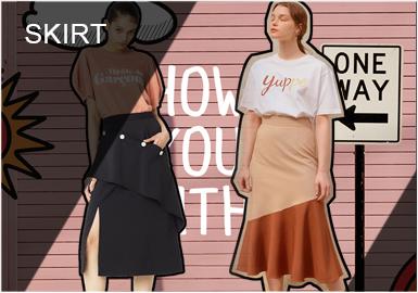 半身裙依然是女裝市場的主打類別,2019春夏的該單品有了新意。契合市場對干練單件裝的需求,經典主打款有了時髦細節。