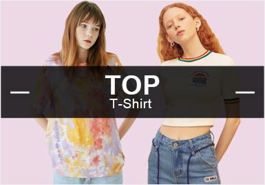四月女裝庫少淑女風的T恤是客戶重點關注的風格,文字和動物都是T恤常用的印花元素,字母依舊是T恤上運用最多的圖案,扎染作為新晉的工藝頗受關注。