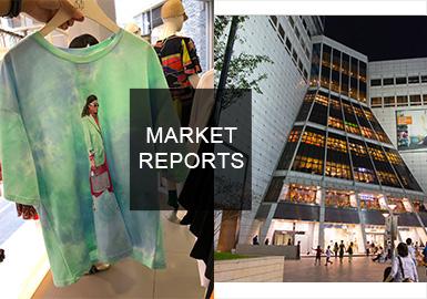 2019春夏韩国女装市场主要以运动休闲,复古微潮为主,工艺上传统扎染以新的方式回归市场,复古风强势回归,细节之处的潮感,少女感的糖果色系,经典卡通形象的复刻,都在演绎着复古之风。千禧一代的鲜明特色的个性表达,用最简单直接的图案方式,全身的每个细胞仿佛都在说,我真美。