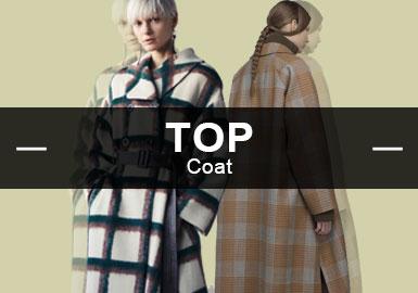5月份的款式庫中,大衣以簡約中淑風格為主,其次中性休閑風格也占據一部分市場。廓形上56%都是通用實穿的H型,工藝上運用了分層拼接,玩轉體積與比例的游戲整體解構獨特個性。