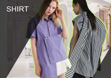 2019年春夏的襯衫在有型和柔軟之間找到了平衡,消費者越來越重視無季節的基礎款,因此襯衫更強調設計的與眾不同。解構襯衫與薄紗襯衫可作為日夜皆宜的服裝,本季極簡解構和現在女性化格調表現突出。