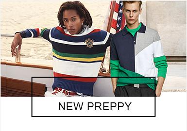 """學院風以美國""""常春藤""""名校校園著裝為代表,Polo衫、Cardigan開襟羊毛衫、板球衫等都是這個風格下的必備單品,2019春夏的學院風時尚感占據著更主要的成分,在款式設計上充分的體現當下的流行元素,顏色的把控也更符合年輕消費者的審美需求。"""