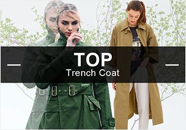 5月女装风衣的款式库以简约解构和工装棉麻为主,廓形以宽松型居多,解构是运用最多的工艺。