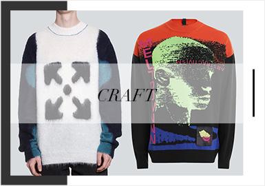 2020春夏男裝毛衫訂貨會各大品牌的圖案工藝與前幾季相比更加精致考究,整體呈現出以一種工藝為主其他工藝輔助的多工藝組合趨勢,展現出快節奏生活下對精致慢生活的向往與追求。