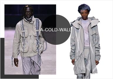 "A-Cold-Wall 2020春夏系列命名为「MATERIAL STUDY FOR SOCIAL ARCHITECTURE」,设计师Samuel Ross 延续了一贯的工业冷调,不只是不修边、手造的那些""工业感"",而是在布料、材质的选用上,都出现真正的""工业建筑""材料,黏土、铅、水与玻璃等,丰富的材质选用与多元的工业风结合建筑工人形象的服装,著成他个人突破性的时装风格。"