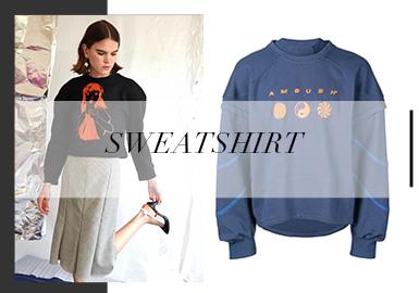 在2020春夏訂貨會中,衛衣整體以微潮風格呈現。廓形上分別在袖子、領口、腰身上做出設計變化,袖型和領口強調了夸張特殊的廓形結構,收腰廓形極致包裹腰身凸顯出現代女性氣質。大量運用了寫實藝術在衛衣上印制動物圖案,讓單品變得豐富且具有趣味。