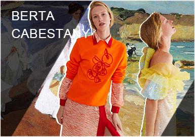 """2016年9月,由西班牙独立设计师Berta Cabestany创办同名设计师品牌。2020早春Berta Cabestany以""""LA BELLEZA DE LA LUZ(光的美丽)""""为主题,向美丽的瓦伦西亚和西班牙大师索罗拉致敬,他们带来欢乐和兴致的分离和派对。Cabestany对绘画和艺术技巧的痴迷呈现为新大理石印花,以赞美索罗利亚(Joaquín Sorolla)绘画独有的泡腾和光效。刺绣成为本季的工艺重点,巴伦西亚橙色和瓦伦西亚风格的蕾丝饰边点缀整个系列,而泡芙袖则以不同的方式呈现,带来浪漫和温馨的情调。"""