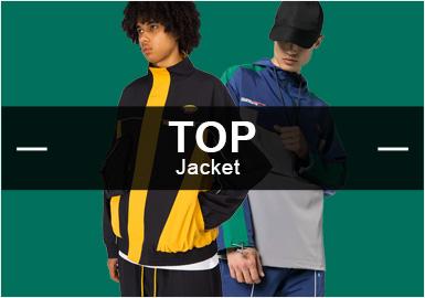 7月份款式庫中夾克單品流行方向分析, 時尚休閑類夾克單品依舊占據市場主流方向,相比上月增加2%。時尚機能類夾克單品是目前市場比較重要的異類風格,和運動休閑風格占比相對持平。字母元素相比上月有明顯增長趨勢達到25%的市場占比,而迷彩元素也有小幅度回歸。拼接工藝仍舊是男裝市場重要的工藝手法之一。