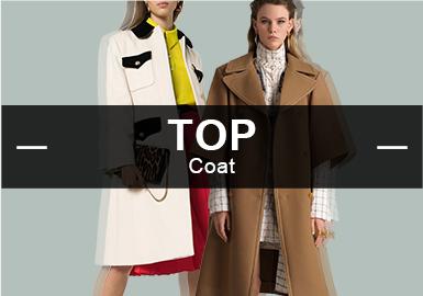 在8月更新的大衣款式中,簡約中淑風格具有46%的大比重的占有率,輕奢女人也是不可或缺的風格之一,少淑風格和中性休閑相對比較持平。廓形中H型和X型表現相對突出,設計重點里拼接手法占17%,解構設計多出現在門襟部位,繡花設計也有小幅度的回歸,小面積的刺繡在腰帶、胸口、領部。