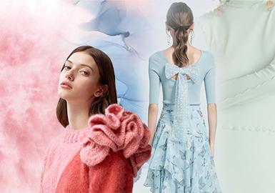 從2019年7月起不論是零售市場還是批發市場,其秋冬款式已開始不斷上新,市場的色彩動向已經明顯的呈現,POP提前一年已經對19/20秋冬女裝毛衫做了色彩趨勢預測,在此從中篩選出零售市場中的國產品牌和廣州、深圳、杭州、桐鄉毛衫批發市場的毛衫款式,針對款式庫中這近千款的新季毛衫,小編將從風格、款式、穿搭色彩配比等方面做具體的驗證分析。