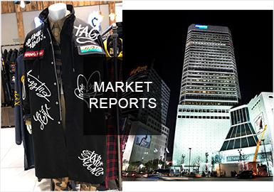 2019秋冬韓國市場上新情況以時尚街潮,時尚機能以及簡約精致男裝風格為主。拼接、繡花工藝明顯占據市場,同時在細節的處理上更加注重,尤其是口袋設計,各大設計師品牌都有所涉及。