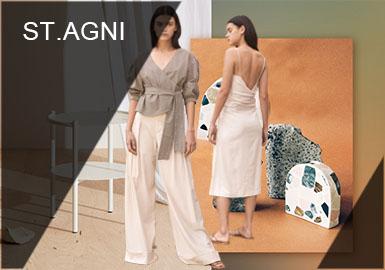 "st.agni是于2014年成立的澳大利亚本土品牌,品牌致力于以""少即是多""的设计理念创造多功能性、精致、高质量的产品。St.agni的工作室坐落于澳大利亚的的海滨小镇Byron bay,因此海滨生活的文化体现在了这个品牌设计美学的各个方面。St.agni一直以来擅长采用中世纪的建筑色彩赭石、铁锈和粘土等温暖色调,在每一季的设计作品中都有很好的呈现。"