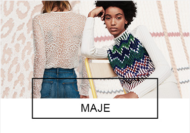Maje是具有浓重法式时尚的法国品牌,设计风格简约大胆,每款产品都融入了设计细节和个性,且带有独特的华丽摇滚感。品牌创意总监Judith Milgrom对色彩和面料的把控极佳,每一季都能够带来精致脱俗、品质优越、价格相宜且易于搭配的服装系列。