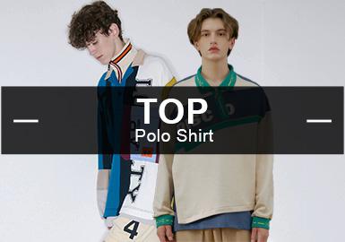 9月份款式庫POLO衫單品流行方向分析,商務休閑、時尚休閑以及運動休閑風格占比相差不大,運動休閑類風格相比上月有小幅上升。圖案類方向以條紋元素為重點,同時拼接工藝也是重要的設計方向。